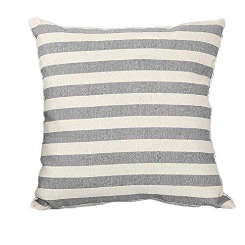 Amiley Cushion Cover Pillow Case , Stripe Print Sofa Bed Home Decoration Festival Pillow Case Cushion Covers set (Gray) (Gray Pillow Covers)
