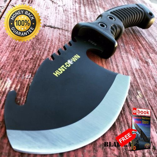 10.5'' TACTICAL SURVIVAL TOMAHAWK AXE BATTLE Hatchet knife hunting BLACK For Hunting Tactical Camping Cosplay + eBOOK by MOON KNIVES]()