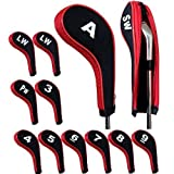 Andux Number Print Golf Iron Covers with Zipper Long Neck 12pcs set
