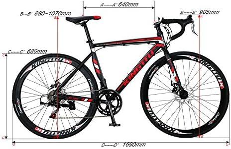 KINGTTU 2016 Nueva 52cm Negro Rojo XC760 Aluminio Shimano TZ 50 14 Envío Bici del Cambio 700C para Hombre camino de la Bicicleta de Freno de Disco: Amazon.es: Deportes y aire libre