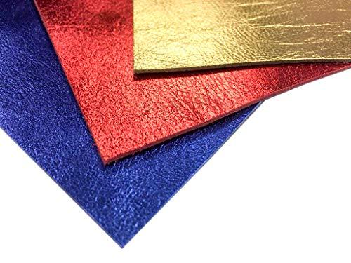 Metallic Leather Embossed (Genuine Leather Metallic Leather Fabric: 3 Real Leather Sheets for Leathercrafts-10x10in/~2oz (Multi, 10x10))