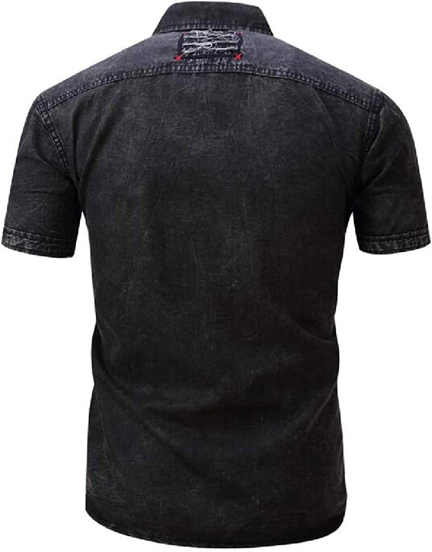 SHOWNO Mens Fashion Cotton Buttons Work Jeans Short Sleeve Dress Shirts