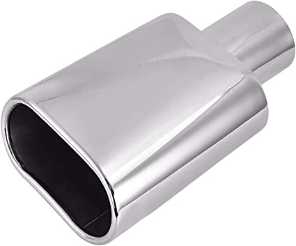 """2/"""" In 7/"""" Long Rectangle Rolled Slant Out Polished Stainless Steel Exhaust Tip"""