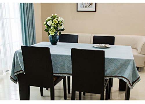 Hyun times Wiener solid chenille fabric wallpaper coffee table tablecloth round tablecloths custom blue ( Size : 140200 )