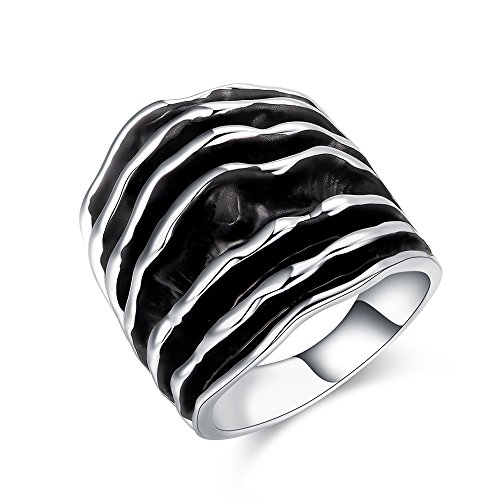 dnswez Fashion Vintage Retro Statement Rings Two Tone Black and Gold Wide Band Ring for Women Size 7