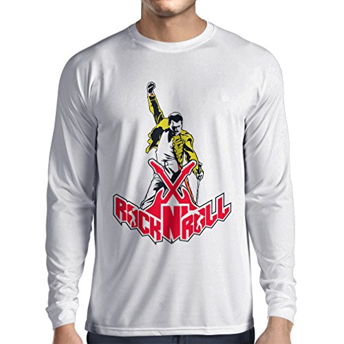 N4356L Long Sleeve t Shirt Men Rock N Roll (Medium White Multi Color)