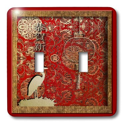 3dRose LLC lsp_12979_2 Crane and Lantern Happy Chinese New Year, Double Toggle (Crane Switchplate)