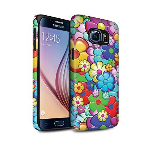 STUFF4 Matte Tough Shock Proof Phone Case for Samsung Galaxy S6/G920/Vibrant Flower Power Design/Hippie Hipster Art Collection