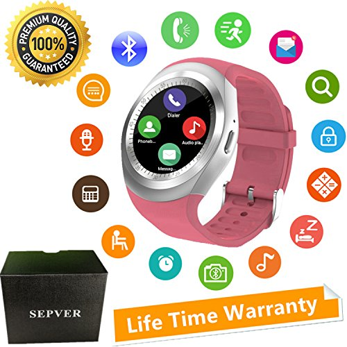 SEPVER Smart Watch Round Bluetooth Smartwatch Unlocked Watch Cell Phone with SIM Card Slot for Samsung LG Sony HTC HUAWEI Google Xiaomi Android Smart Phones and ios iPhone Men Women Kids (Pink)