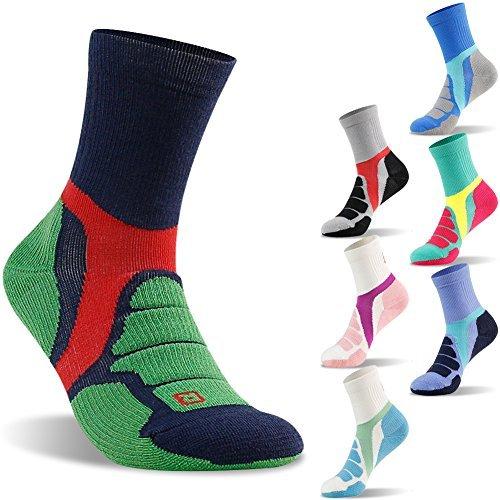 Mid Thermal Sock - Outdoor Trail Sock Merino Wool Socks, ZEALWOOD Breathable Mid Length Multi Performance Socks, Merino Wool Running Socks,Unisex Thermal Hiking Crew Socks-Blue/Green,Medium