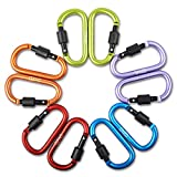 Aluminum Alloy D Ring Shape Buckle, Super-handy Spring Snap Key Chain Clip Hook Screw Lock Buckle, idea for Outdoor Use (Random, 10 PCS)