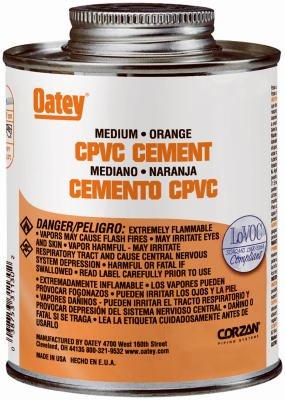 Oatey 31129 8-oz. Orange Medium-Bodied CPVC Pipe Cement - Quantity 24 by Oatey