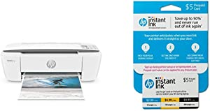 HP DeskJet 3755 All-in-One Compact Printer with Wireless Printing - Stone Accent (J9V91A) with Instant Ink Prepaid Card for 50 100 300 Page per Month Plans (3HZ65AN)