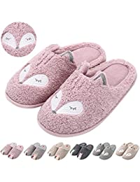 Womens Cute Animal Slippers Warm Memory Foam Cotton Home Slippers Soft Fleece Plush House Slippers Indoor