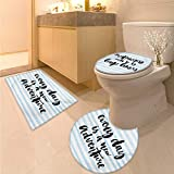 Inspirational Quotes Bath Rug Set Piece Every Day is a New Adventure Calligraphy Text Watercolor Stripes Print Toilet Carpet Floor mat Pale Blue