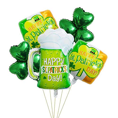 DALJIAFA St. Patrick's Day Square Balloons Shamrock Clover Beer Wine Glasses Foil Balloon Set Green Happy St. Patrick's Day Celebration Balloons Irish Day Party Decoration Supplies Favors 5 Pack