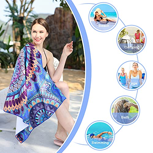 Microfiber Beach Towel, Oversized Super Absorbent Quick Dry Mandala Towel, Suitable for Gym, Beach, Pool, Travel, Bath, Yoga for Kids and Adults
