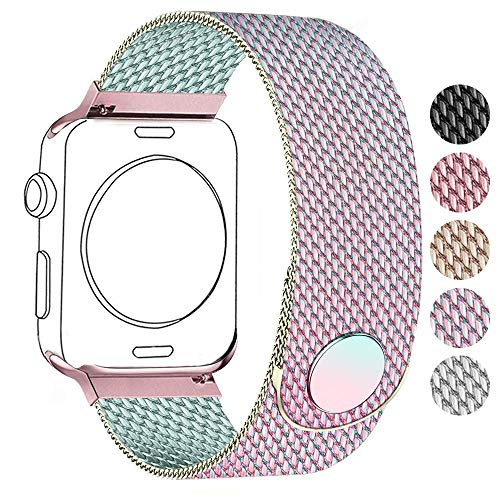 Compatible with Apple Watch Band 38mm 40mm 42mm 44mm, Stainless Steel Mesh Magnetic Loop Replacement Parts for iWatch Band Series 1/2/3/4 (Colorful, 38mm/40mm) (40 Replacement Cell)
