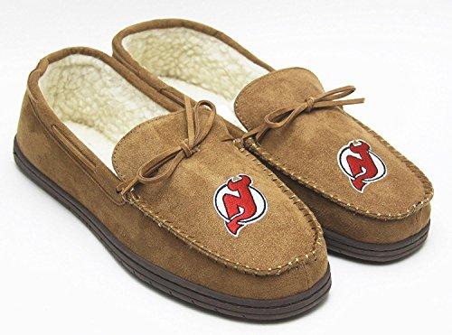 NHL Hockey Mens Team Logo Moccasin Slippers Shoe - Pick Team (New Jersey Devils, Large) -