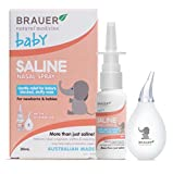 Baby Saline Spray and BPA Free Aspirator combo ~ Hygienic, Safe and Natural Relief of Blocked Nose for Baby ~ 1 oz by Brauer