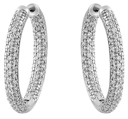 - Olivia Paris 14k White Gold 1 Carat (ctw) Inside Out Pave Diamond Hoop Earrings for Women (H-I, I1)