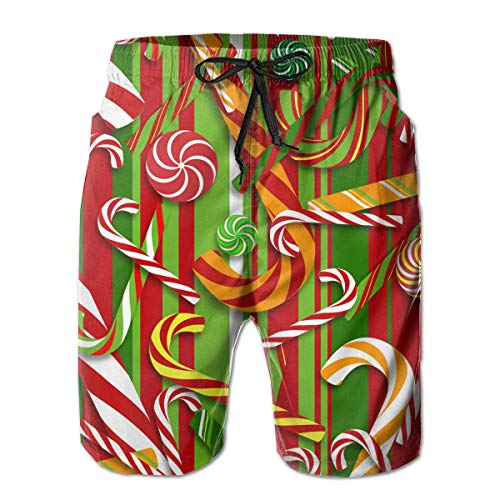 Mens Sweet Candy Cane Swim Trunks Swimwear for Beach Outdoor Workout - Classic-Fit Fast Dry Loose Full Elastic Drawstring Board Shorts Big & Tall Swim ()