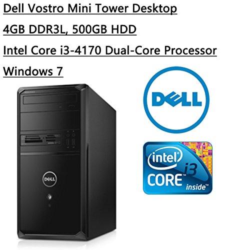 Newest Dell Flagship 2016 Vostro Mini Tower Desktop Intel Core i3-4170 Processor (3M Cache, 3.70 GHz) 500GB 7200 RPM SATA 6Gb/s Hard Drive, 4GB DDR3L, HDMI, Windows 7 Professional, Black (Dell Vostro Mini Tower)