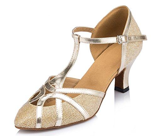 TDA Womens Mid Heel Gold PU Leather Salsa Tango Ballroom Lat