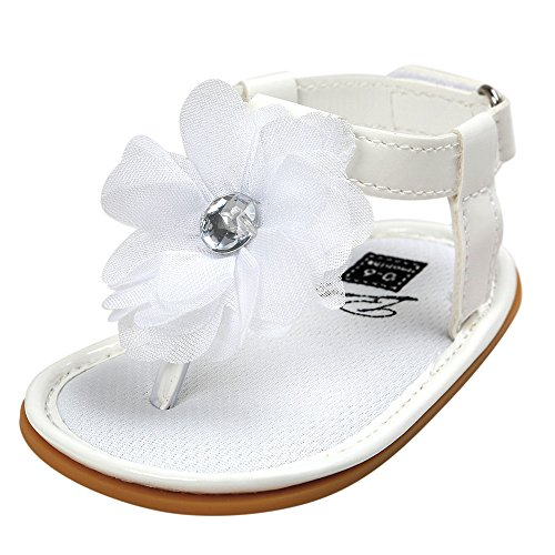 Nevera Girls Fashion Sandals Slingback Thong Summer Flat Princess Shoes with Braided Strap White ()