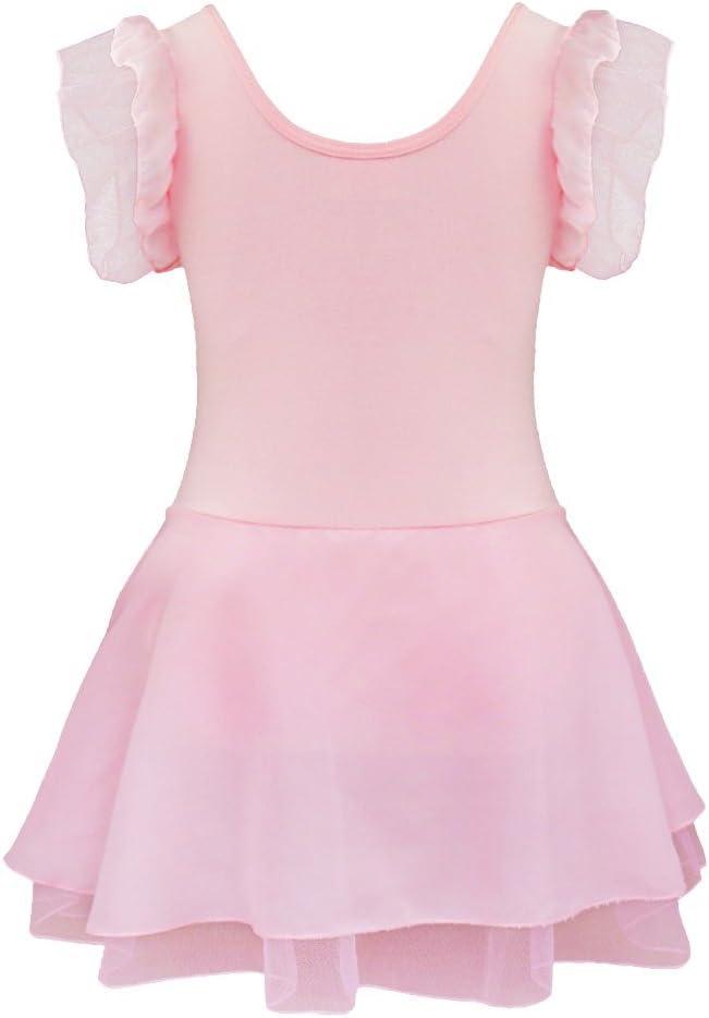 iEFiEL Kids Girls Ruffled Short Sleeves V-Neck Ballet Tutu Dress Gymnastics Leotard Bodysuit Dancewear
