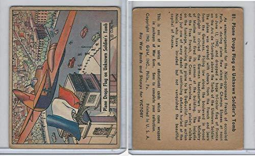 R164 Gum Inc, War Gum, 1941, 81 Plane Drops Flag On Unknown Soldier's