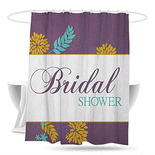Funny Shower Curtain Bridal Shower Farm Village Abstract Flowers Bride Party Celebration Image Bathroom Curtain Washable Polyester 70in×70in Purple Sky Blue and Marigold -