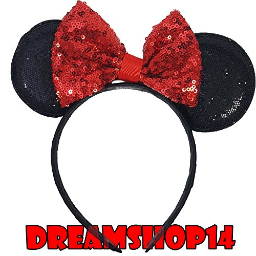 Disney Junior Minnie Mouse Sequins Headband Ears (RED) (Disney Minnie Ears Headband)