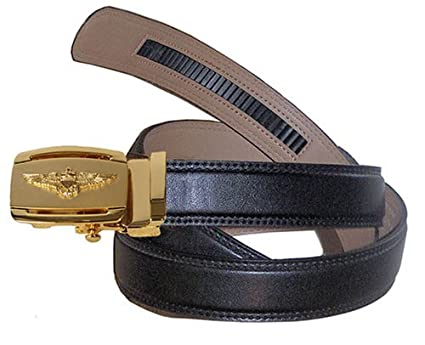 930ba2cf Gold Buckle w/ Gold Pilot Wings Ratchet Belt Buckle with Belt (Size 48: