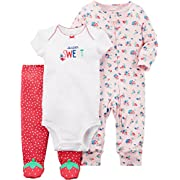 Carter's Baby Girls' 3 Piece Strawberry Sleep and Play Set 6 Months