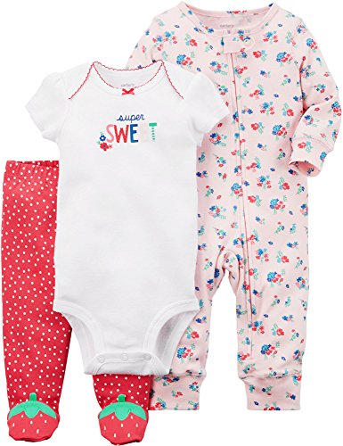 Carter's Baby Girls' 3 Piece Strawberry Sleep and Play Set 3 Months