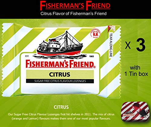 - Fisherman's Friend Lozenges 3 Citrus Flavor (With 1 Collectibles Tin boxes) Fruity Taste with Fresh breath and Extra Strong Cough Suppressant Lozenges