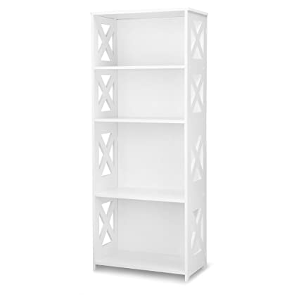 Finether 4 Tier Modular Side Cross Cut Out Wood Plastic Composite Shelf Unit  White