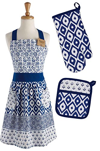 Mitt Set Gift - DII COSD35141 Cotton Gift Set, Machine Washable, Perfect for Everyday Kitchen Cooking and Baking, Oven Mitt 7x11, Apron 29x36, and Potholder 8x9