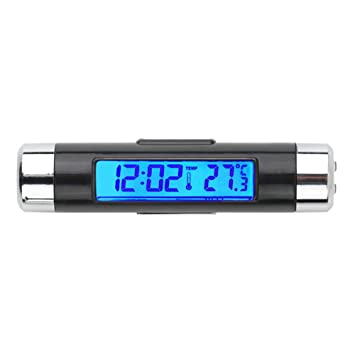 Black Car Dashboard Digital LCD Blue Backlight Thermometer Time Clock Calendar