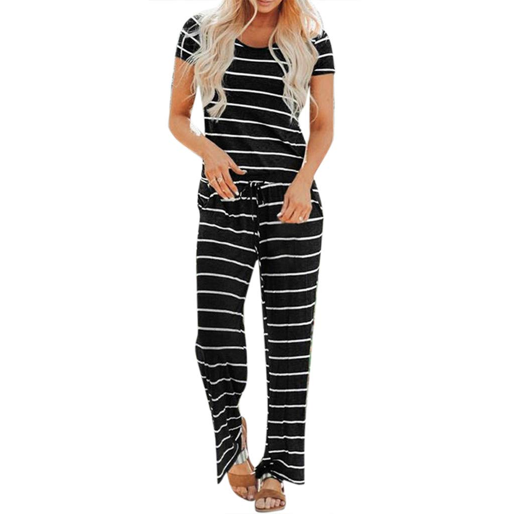 TOTOD 2019 New Women Stripe Jumpsuit Short Sleeve O-Neck Holiday Long Playsuits Basic Loose Drawstring Rompers Black