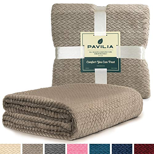 PAVILIA Luxury Soft Plush Taupe Throw Blanket for Sofa, Couch | Silky Velvet Fleece Chevron Pattern Throw | Cozy Lightweight Microfiber, Reversible Blanket | All Season Use | 50 x 60 Inches