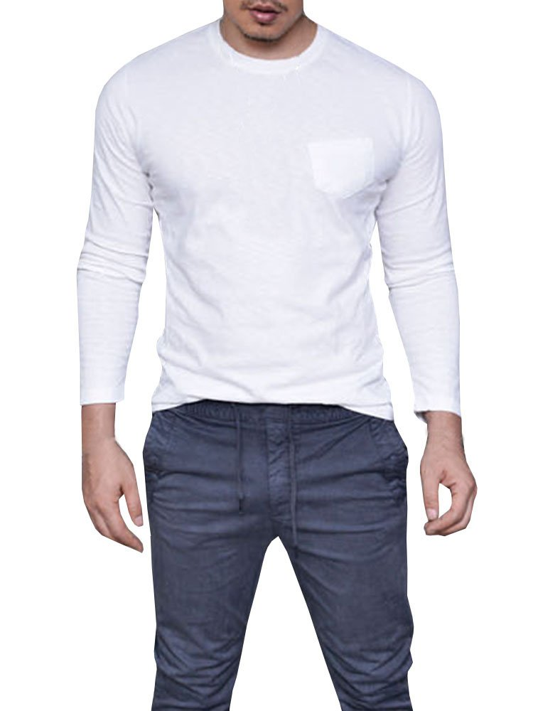 Makkrom Mens Hipster Shirts Long Sleeve Crew Neck Casual Plain T-Shirts with Front Pocket