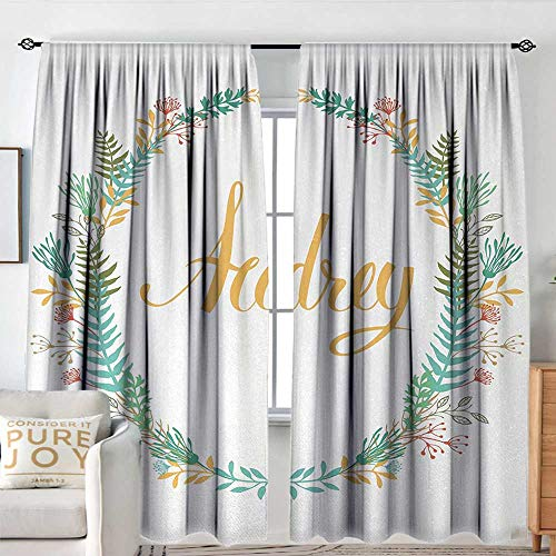 """Petpany Customized Curtains Audrey,Retro Style Arrangement with Flourishing Nature Flowers and Leaves Signature Pattern,Multicolor,for Room Darkening Panels for Living Room, Bedroom 54""""x84"""""""