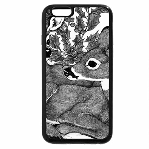 iPhone 6S Case, iPhone 6 Case (Black & White) - Christmas Fawns 2