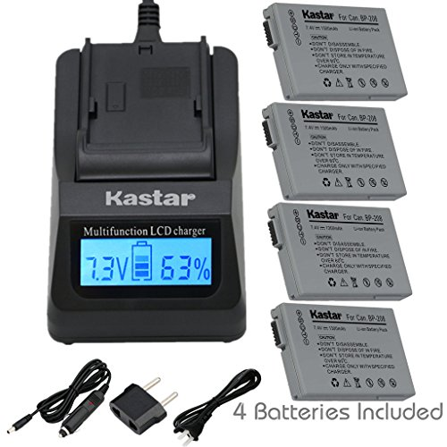 Kastar Fast Charger and BP-208 Battery (4X) for Canon DC10 DC19 DC20 DC21 DC22 DC40 DC50 DC51 DC95 DC100 DC200/201/210/211 DC220/230 Elura 100 FVM300 IXY DVS1 MVX1Si/430/450/460 Optura S1 VIXIA HR10 by Kastar