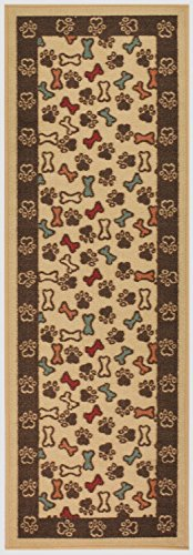 - RugStylesOnline Pet Collection Bones and Paws Runner Mat Beige Multi Color Slip Skid Resistant Rubber Backing (Beige, 1'10 x 6'11 Runner)