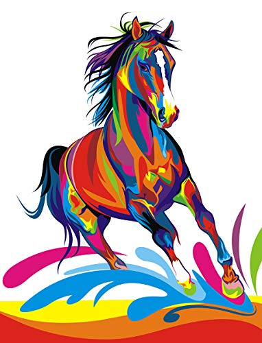iFymei Paint By Number Kits Paintworks Acrylic DIY Oil Painting for Kids and Adults Beginner Animals Canvas ( Color horse ()
