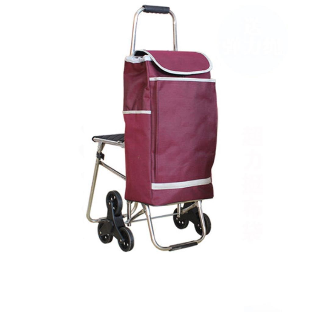 Shopping cart - stainless steel belt climbing stairs luggage cart, folding hand cart , dark red (elastic cord)