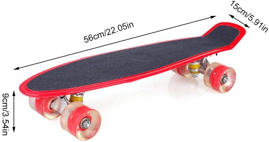 N//V Skateboard Skateboard da 22 Pollici con Ruote Illuminate A LED Perfette per Bambini Adolescenti E Principianti Longboard